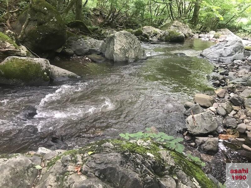 薄根川7月中旬沈み石